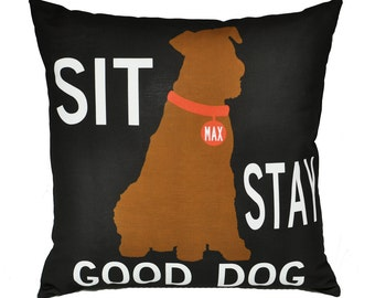 Personalized pillow with your dog's name-Terrier-Eco-friendly 20x20 Pillow-Various breed choices