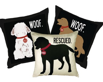 Personalized pillow with your dog's name-Choose your breed, color and wording. Eco-friendly 20x20 Pillow