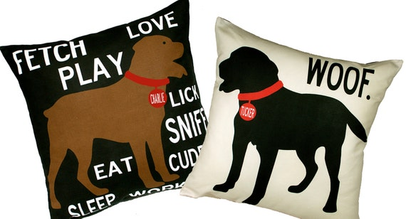 Personalized Pet pillow with your dog's name-Choose your breed and style-Eco-friendly 20x20 Pillow-Various color choices