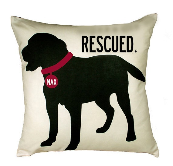 RESCUED- Personalized Dog pillow with your dog's name-Choose your breed and style-Eco-friendly 20x20 Pillow-Various color choices