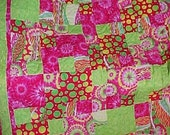 SUPER BRIGHT 54 iN X 67 in Lap Quilt or Dorm Room Throw  Was 125.00 now 75.00