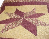 Burgundy, Gold and Green Big Star Quilt  NOW ON SALE  WAS 160.00