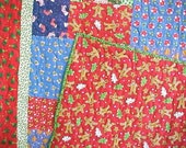 Christmas Quilt Throw Wall Hanging Lap Quilt  60 x 74 NOW ON SALE WAS 145.00