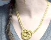Brass Twisted Mesh Knot Necklace
