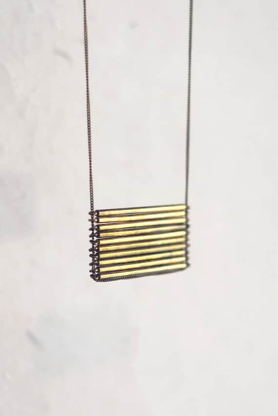 RESERVED Brass Stacked Bar Necklace