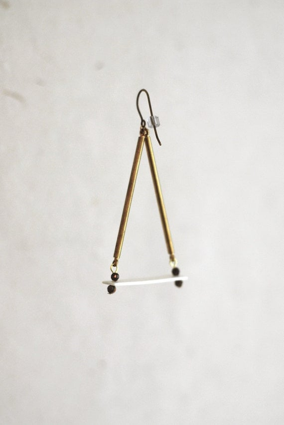 Ivory and Brass Triangle Dangle Earrings