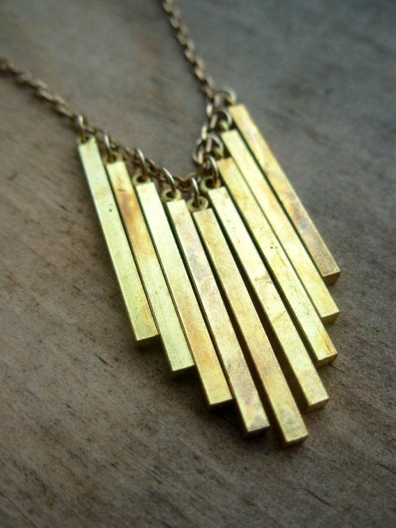 Vintage Brass Fringe Necklace