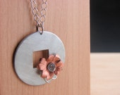 "Flower Necklace Pendant Handcrafted Copper and Hardware on a 24"" Long Chain"
