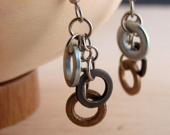 Dangle Drop Earring Mixed Metal Hardware Jewelry Industrial Black, Bronze, and Steal Washers