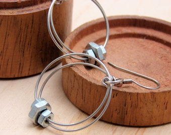 Dangle Hoop Earrings Wire Wrapped Hardware Jewelry Industrial