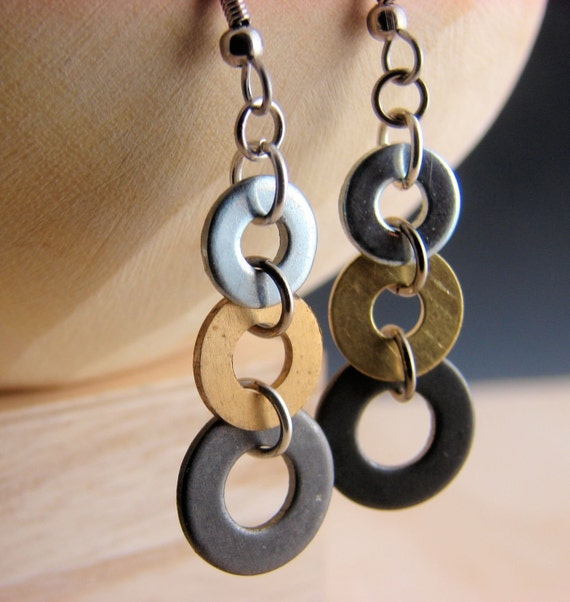 Industrial Earrings with Black-Brass-Steel Hardware Washers