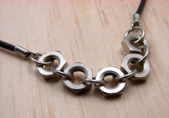 Leather Cord Necklace with Five Hexagon Hardware Nuts