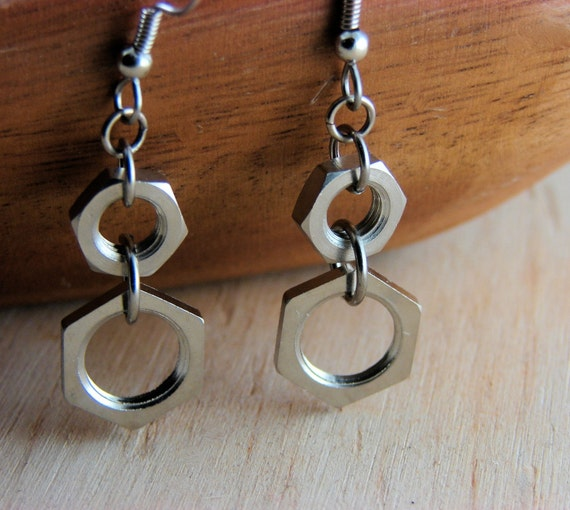 Geometric  Earrings Dangles - Hardware Hexagon Nuts