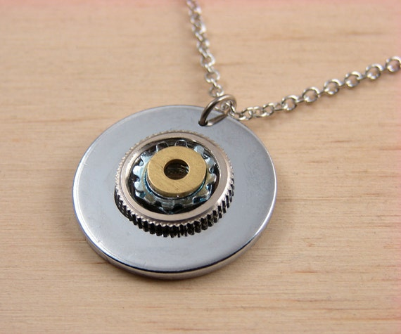 Statement Pendant Necklace Steampunk Hardware Jewelry Industrial Brass and Chrome Washer