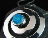 Caribbean Blue Swirl - Fused Glass and Silver Necklace - Turquoise Blue Necklace