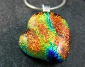 Heart Shaped Fused Glass Necklace - Warm Embers