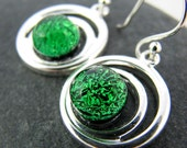 Emerald Green Orbits - Fused Glass and Silver Earrings - Made to Order