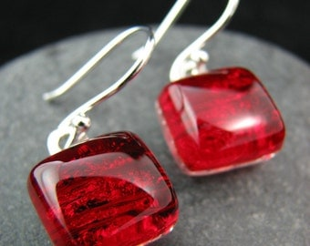 Vibrant Red Fused Glass Square Earrings - Made to Order