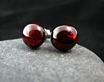 Garnet Red Glass Earrings - Simple, Classic Earring Posts - Ready to Ship