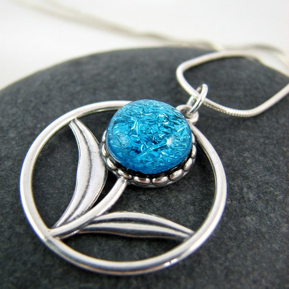 Blue Flower Necklace - Silver and Fused Glass Necklace - Forget me Not