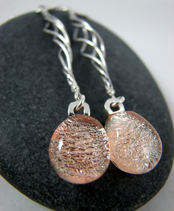Fused Glass and Silver Earrings - Peach Bellini Drops