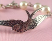NEW Swallow in Flight - Antiqued Silver Bird Bracelet with Ivory Pearls