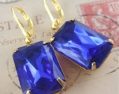 Loren - Gold and Royal Blue Rectangular Rhinestone Earrings