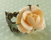 Garden Party - Cream Rose and Bronze Filigree Ring
