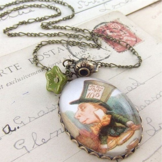 We're All Mad Here Alice in Wonderland Necklace