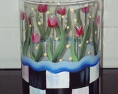 Hand Painted Glass Hurricane or Vase