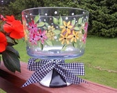 Hand Painted Trifle Bowl/Punch Bowl/Glassware