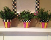 Painted pots // whimsical painted planter // terra cotta planter