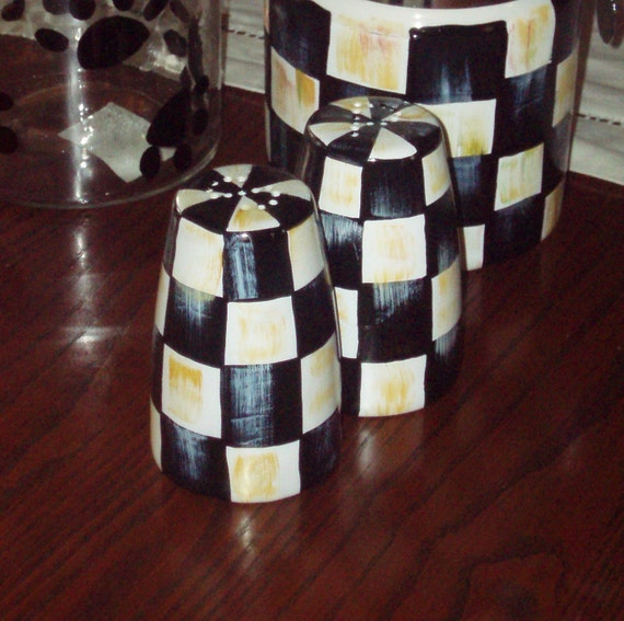 Hand Painted Black and White Checked Salt and Pepper Set