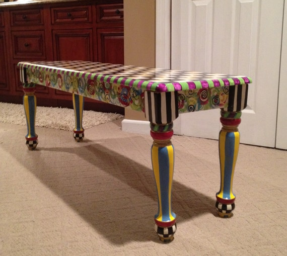 Whimsical Painted Furniture, Whimsical Painted Bench // Whimsical Furniture  // Custom Bench // Custom Painted Chair