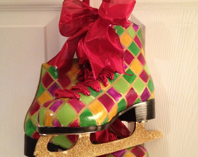 Painted Figure Skate Pair Gold Whimsical Checked Harlequin Glitter