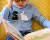EASTER bunny tee.  pink or baby blue.  you pick letter.  2 4 6 8 10 12 and infant.  super cute custom by lisa gorno