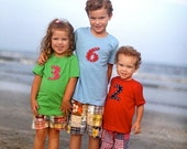SUMMER SHORT SLEEVE custom t shirts.  tops.  super cute.  pick color of tee, letter or number, felt color, yarn color