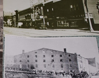 Old Building photo prints from vintage magazines 4 pieces