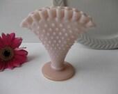 Pretty Pink Vintage Fenton Milk Glass Hobnail Small Fan Vase