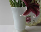 Vintage EO Brody Milk Glass Ribbed Footed Vase