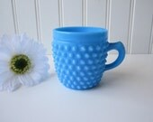 RESERVED ITEM Cute Blue Milk Glass Hobnail Cup