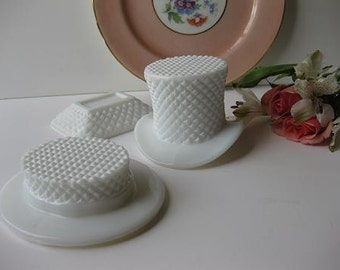 Vintage Westmoreland Milk Glass English Hobnail Collection of Three - Cottage Chic