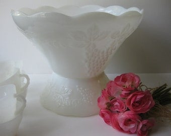 Vintage Anchor Hocking Milk Glass Grape Punch Bowl Set Ten Pieces