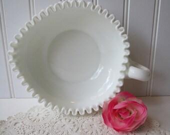 Vintage Fenton Milk Glass Hobnail Heart Shaped Relish Bowl