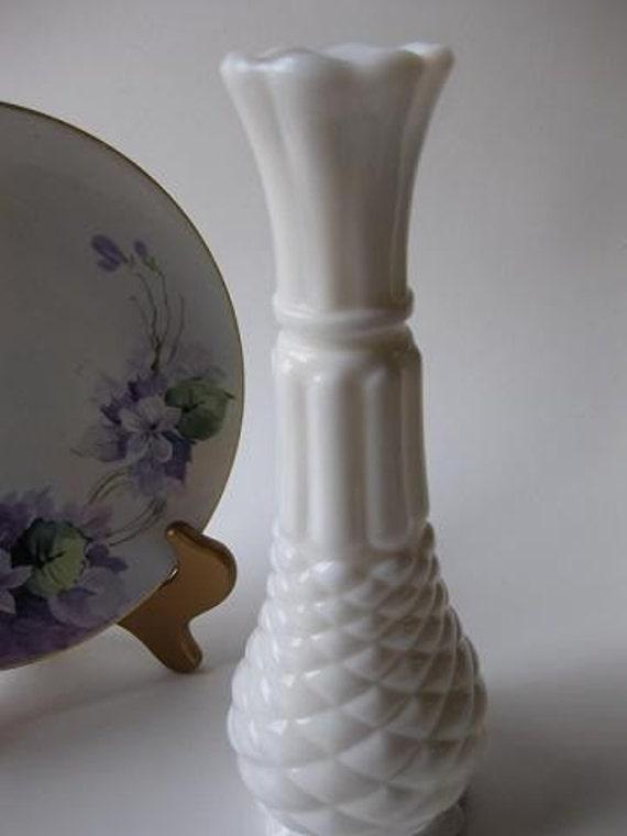Vintage Milk Glass Diamond Pattern Bud Vase