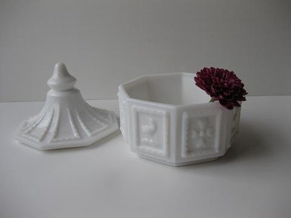 Vintage Imperial Milk Glass Butterpat Box and Cover