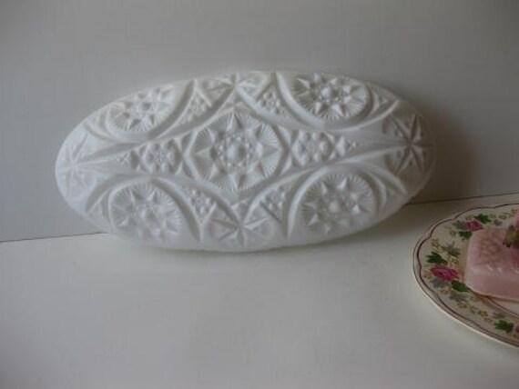 Vintage Milk Glass  Pres Cut Textured Star Pattern Celery Dish