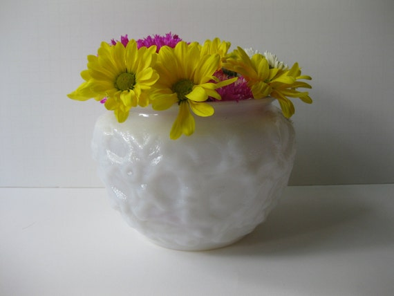 Vintage Textured EO Brody Milk Glass Vase Bowl Planter