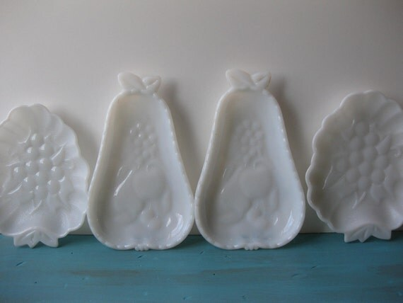 Vintage Milk Glass Fruit Dishes Set of Four
