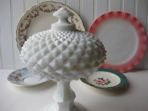 Vintage Westmoreland Milk Glass Covered Pedestal Dish